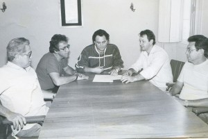 Reunião - Gilberto Ferreira, Sérgio Bulgari, Roque Palacio, Abel J. Melo e Wanderley Montini.